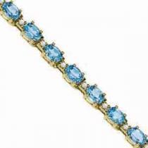 14K Gold Diamond & Blue Topaz Bracelet : B213WBC6
