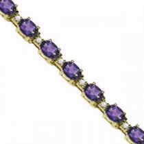 14K Gold Diamond & Amethyst Bracelet : B213WMC6