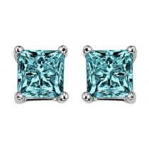 Gold Blue Diamond Studs P/Cut 1 ctw/BLPC6100
