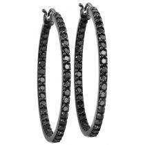 1 ctw Black Diamond Earrings in 14k White Gold / FE1122