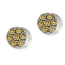 1/10 ctw Brown & White Diamond Earrings in 10K White Gold / FE1138