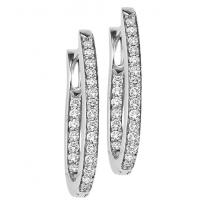 Silver Diamond Earrings 1/2 ctw/ FE1175
