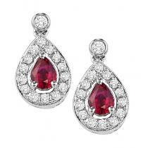 Ruby & Diamond Earrings in 14K White Gold /FE4015RWB
