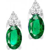 Gold Diamond & Emerald Earrings (Available in all Birthstones)/FE4023-10