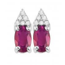 Ruby & Diamond Earrings in 10K White Gold / FE4025