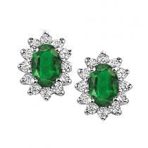 Emerald & Diamond Earring in 14K White Gold