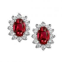 Ruby & Diamond Earring in 14K White Gold