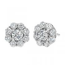 1 1/3 ctw Ideal Cut Diamond Earrings in 14K White Gold /FE4066ID