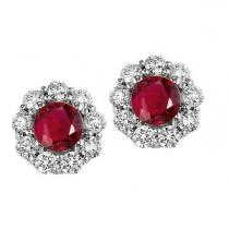Ruby & Diamond Earrings in 14K White Gold / FE4066RWB