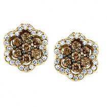 3/8 ctw Brown & White Diamond Earrings in 10K Yellow Gold/ FE4073-10