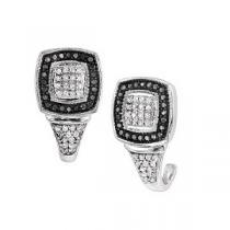 1/3 ctw Black & White Diamond Earrings in Sterling Silver / FE4074