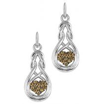 1/8 ctw Brown Diamond Earrings in Sterling Silver / FE4080