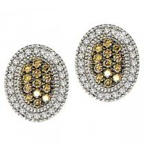 1/3 ctw Brown & White Diamond Earrings in 10K White Gold / FE4087