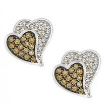 1/3 ctw Brown & White Diamond Earrings in 10K White Gold / FE4088