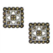 3/8 ctw Brown & White Diamond Earrings in 10K White Gold / FE4089