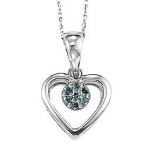 Silver Blue Diamond Pendant / FP1182