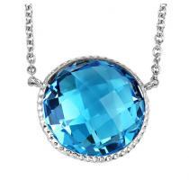 Silver Blue Topaz Pendant /FP1286