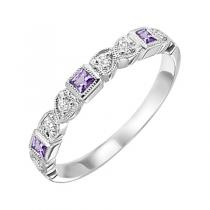 Amethyst & Diamond Ring in 14K White Gold / FR1232