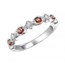 Garnet & Diamond Ring in 14K White Gold / FR1237