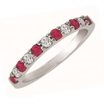 Ruby & Diamond Ring in 14K White Gold