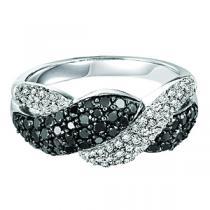 Silver Black  & White Diamond Band 1 ctw/FR1371