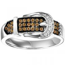 Silver  Brown Diamond Band 1/3 ctw / FR1380