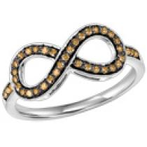 Silver & Brown Diamond Infinity Ring 1/4 ctw :  FR1386