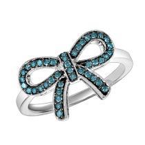 Silver Blue Diamond Ring 1/4 ctw :  FR1387
