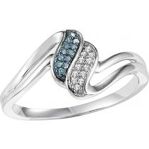 White Gold Blue and White Diamond Ring:  FR1397
