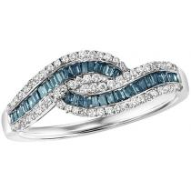 Gold Blue & White Diamond Ring 1/2 ctw/FR1401