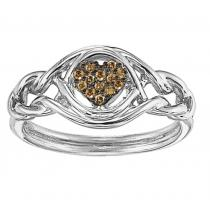 1/12 ctw Brown & White Diamond Ring in Sterling Silver /FR4080