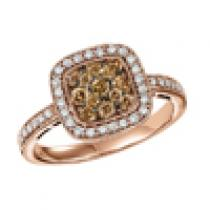Brown and White Diamond Ring 5/8 ctw:FR4097P