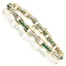 14K White & Yellow Gold Diamond & Emerald Bracelet / GTN446YEC