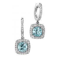 Blue Topaz & Diamond Earrings in 14K White Gold / HDER062