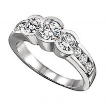 1 1/2 ctw Three Stone Plus Diamond Ring in 14K White Gold / HDR1324LW