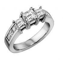 2 ctw Three Stone Plus Diamond Ring in 14K White Gold/HDR1330LW
