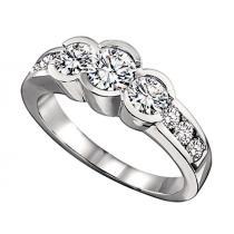 1 ctw Three Stone Plus Diamond Ring in 14K White Gold/HDR1384LW