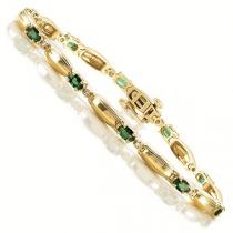 14K Yellow Gold Diamond & Emerald Bracelet / J27-21YEC