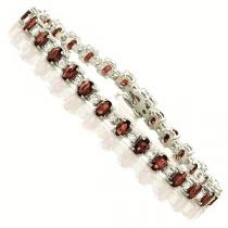 14K White Gold Diamond & Ruby Bracelet / JB2417WRC
