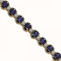 14K White Gold Diamond & Sapphire Bracelet / JB2417WSC6