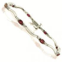 14K White Gold Diamond & Ruby Bracelet / JB2656YRC