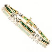 14K White & Yellow Gold Diamond & Emerald Bracelet / MB101NEC