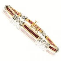 14K White & Yellow Gold Diamond & Ruby Bracelet / MB101NRC