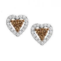 1/3 ctw Brown & White Diamond Earrings in 10K White Gold / NE280