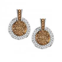 3/4 ctw Brown & White Diamond Earrings in 14K White Gold / NE283-10P