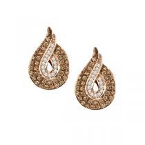 3/4 ctw Brown & White Diamond Earrings in 14K Rose Gold / NE284