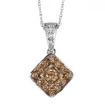 1/4 ctw Brown and White diamond Pendant. / NP641