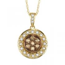 1/4 ctw Brown and White diamond Pendant. / NP643