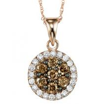 Pink Gold Brown and white Diamond Pendant 1/2 ctw:NP695P