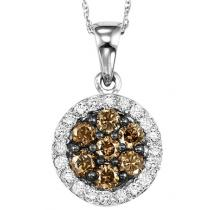 White Gold Brown and white Diamond Pendant 1/2 ctw:NP695W